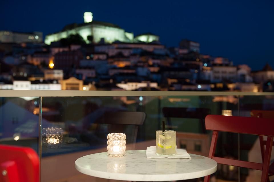 Vista sobre el centro de Coimbra del bar del hotel